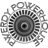 The Pwerdy - Powerhouse logo is a Pelton Wheel with the words Pwerdy Powerhouse wrapped around it.